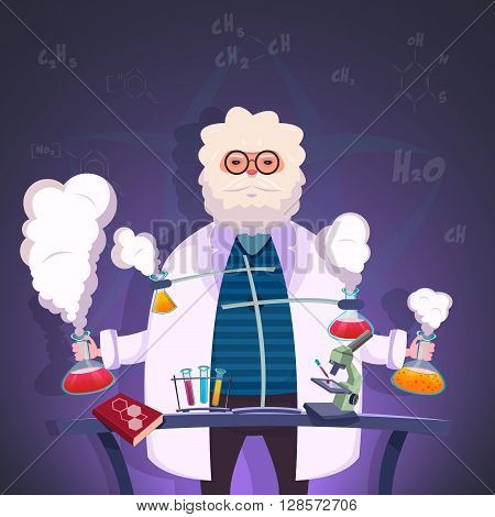 Professor of chemistry conducts experiments in the lab with test tubes and chemical elements poster vector illustration