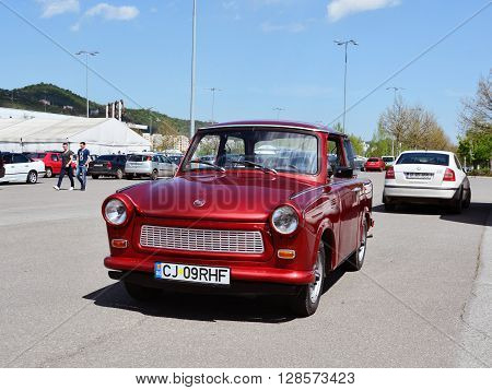 CLUJ-NAPOCA ROMANIA - APRIL 16 2016: Old Trabant 601 car produced in former East Germany in years 1963-1991 at the 2016 Retro Spring Parade.