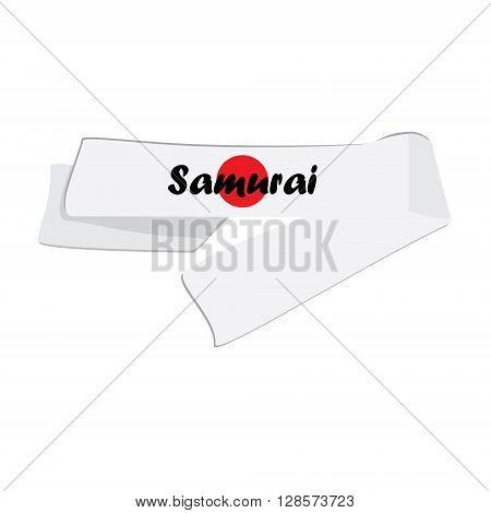 Vector illustration hachimaki national japanese headband with japan flag. Samurai bandana.
