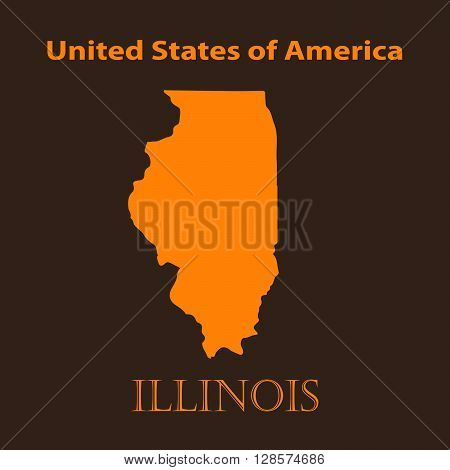 Orange Illinois map - vector illustration. Simple flat map of Illinois on a brown background.