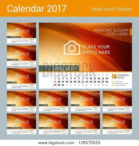 Desk Line Calendar For 2017 Year. Vector Design Print Template With Abstract Background. Week Starts
