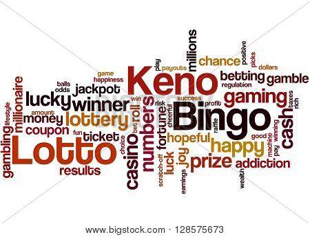 Lotto Bingo Keno, Word Cloud Concept 3
