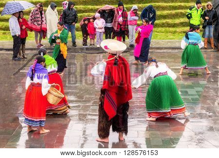 Ingapirca Ecuador - 20 June, 2015: Unidentified Group Of Indigenous People Is Celebrating The Day When The Sun Is At Its Farthest Point From The Earth And Also Coincides With The Winter Solstice In Ingapirca On June 20, 2015