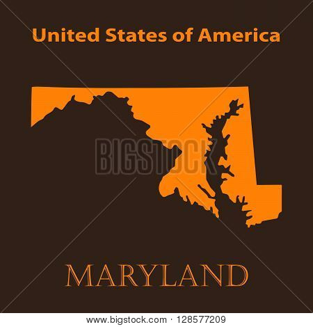 Orange Maryland map - vector illustration. Simple flat map of Maryland on a brown background.