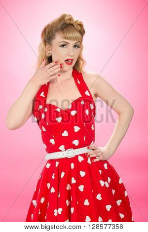 Pin up girl wearing vintage 1950's dress