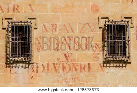 Detail Of Letters In University Facade