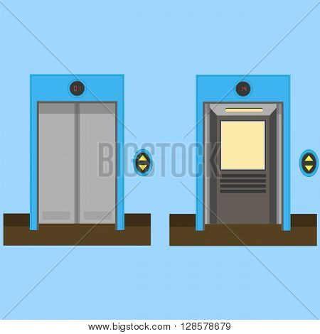 Metal Office Building Elevator on Blue Background. Closed and Open Doors. Flat Design. Doors of Elevator. Pass Elevator Icon.