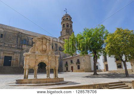 Santa Maria Fountain And Cathedral In Baeza