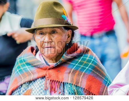 Banos De Agua Santa - 29 November, 2014: Portrait Of An Old Indigenous Woman On The Streets Of Banos De Agua Santa South America In Banos De Agua Santa On November 29, 2014
