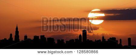 Chicago city siluethe ilustration citiscape at sunset