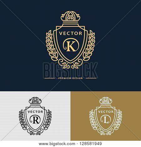 Vector illustration of Line graphics monogram. Elegant art logo design. Letter K R L. Emblem template. Business sign identity for Restaurant Royalty Boutique Cafe Hotel Heraldic Jewelry Fashion