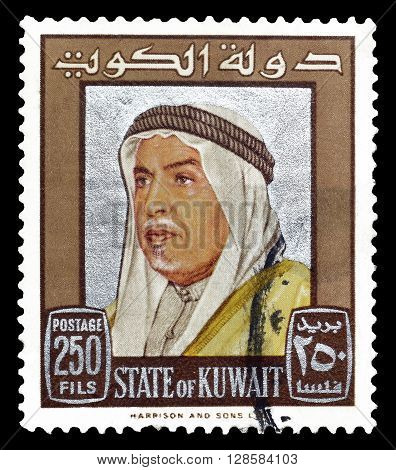 KUWAIT - CIRCA 1969 : Cancelled postage stamp printed by Kuwait, that shows portrait of Sheik Abdullah.