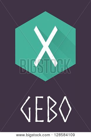 Gebo rune of Elder Futhark in trend flat style. Old Norse Scandinavian rune. Germanic letter. Vector illustration.