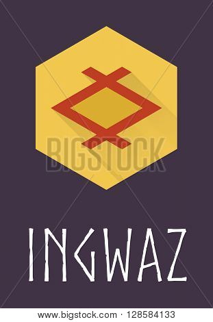 Ingwaz rune of Elder Futhark in trend flat style. Old Norse Scandinavian rune. Germanic letter. Vector illustration.