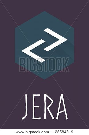 Jera rune of Elder Futhark in trend flat style. Old Norse Scandinavian rune. Germanic letter. Vector illustration.