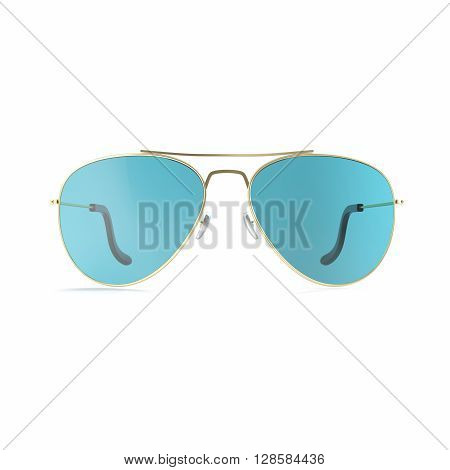 Sunglasses blue glasses isolated on white background.