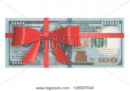 Wad of 100 Dollars banknotes with red bow gift concept. 3D rendering