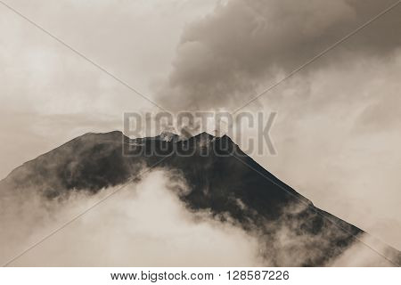 Tungurahua Volcano One Of The Most Active Volcanoes From South America Seen From Banos De Agua Santa February 2016 Eruption South America