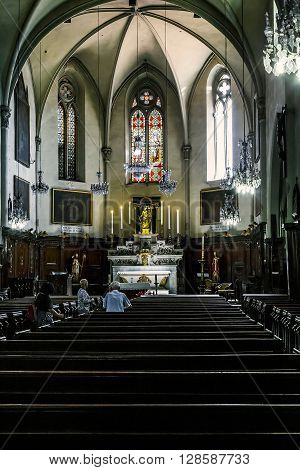 Cannes, France - May 22: This is the interior of the church and the altar of Our Lady of Hope May 22, 2015 in Cannes, France.