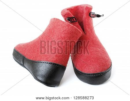 Pair of felt boots bright red color with an iron clasp