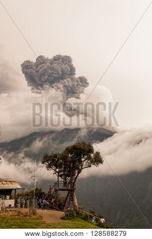 Banos De Agua Santa - 08 March 2016: Smoke Rises From Tungurahua Volcano March 2016 Powerful Explosion View From Casa Del Arbol The Tree House Ecuador South America In Banos De Agua Santa On March 08 2016