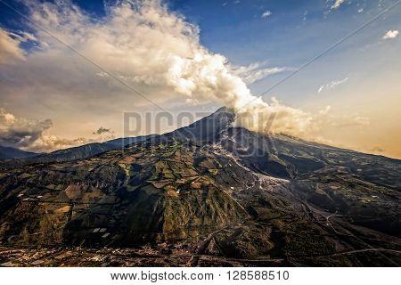 Tungurahua Volcano Intense Strombolian Activity At Sunset Aerial View February 2016 Ecuador South America