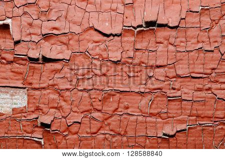 Red Painted old wall. Abstract cracked brown texture. ** Note: Soft Focus at 100%, best at smaller sizes