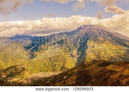 Smoke Rises From Tungurahua Volcano February 2016 Powerful Explosion Aerial View Ecuador South America