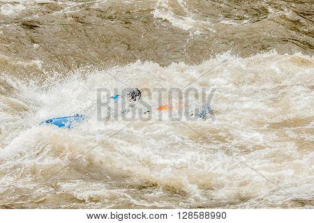 Unidentified Whitewater Kayaker At Pastaza River Ecuador South America