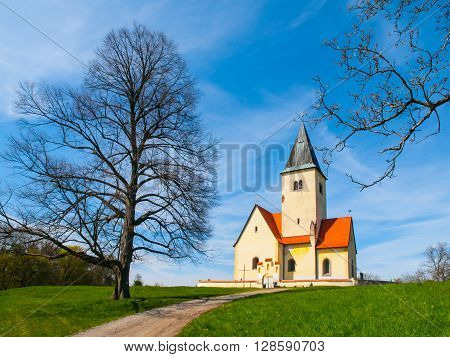 Small rural church of St. Philip and Jacob in Chvojen, Czech Republic ** Note: Soft Focus at 100%, best at smaller sizes