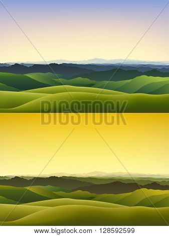 Cartoon vector horizontal landscape background with green hills and misty mountains in the evening.