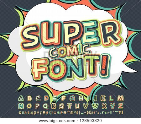 Cool multicolored high detail comic font and speech bubble. Alphabet in style of comics, pop art. Multilayer letters and figures for decoration of illustrations, websites, posters, comics, banners