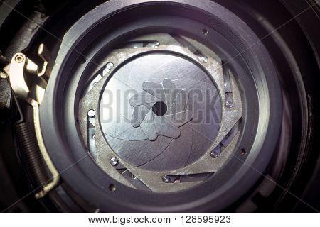 Inside a vintage lens, the shutter diaphragm