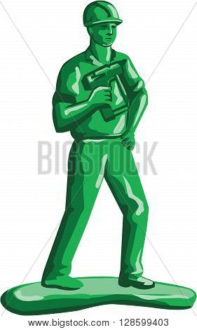 Illustration of a green plastic toy construction worker standing wearing hard hat holding nailgun and other hand on hips viewed from front set on isolated white background done in retro style.