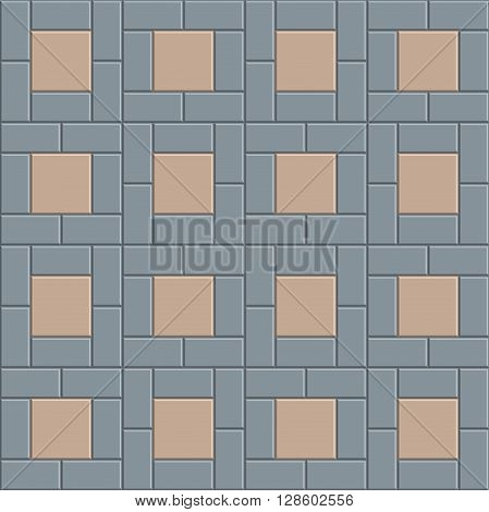 3D brick pavement tile floor seamless pattern for decoration and design. vector illustration