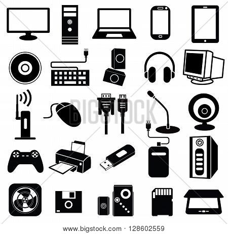 Set of black and white computer peripheral icons, vector.
