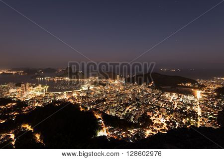 Night View of Rio de Janeiro City and Sugarloaf Mountain