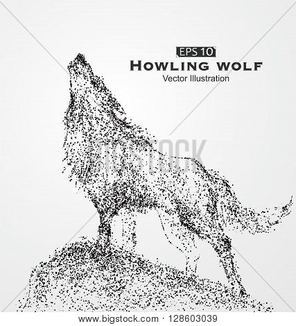 Howling wolf particles vector illustration,Heaven shouts wolf,sketch.