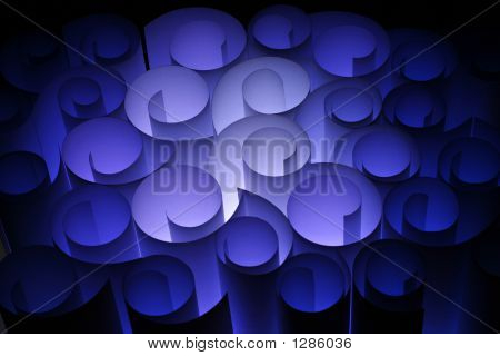 A Colourful Abstract Of Paper Twirls In Electric Blue