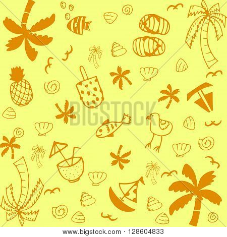 Summer illustrations of doodle art with yellow backgrounds
