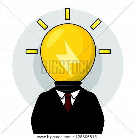 Busines man bulb head idea. eps10 editable vecor illustration design