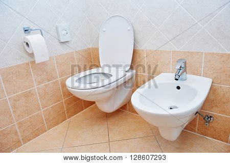 toilet sanitary sink or bowl bidet and paper