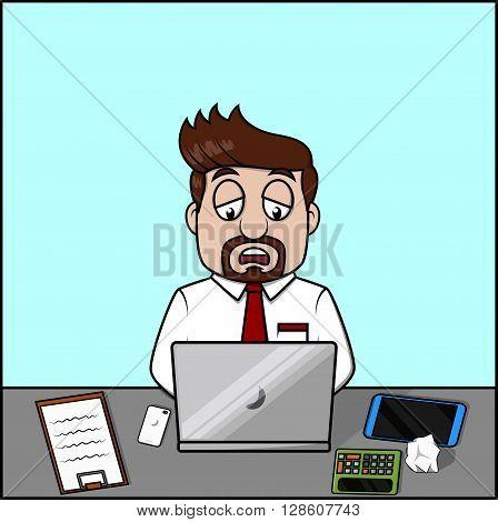 Dizzy employee man .eps10 editable vector illustration design