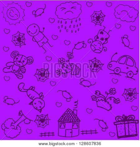 Draw house and garden doodle art with purple backgrounds