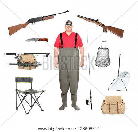 Great collection of a fishing and hunting equipment isolated on a white background. Hunter or fisherman in waders with accessories.