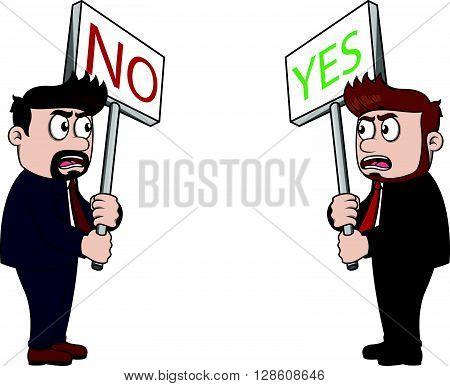 dissent between boss and employee .eps10 editable vector illustration design