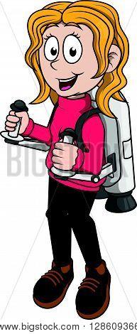Girl playing jetpack .eps10 editable vector illustration design