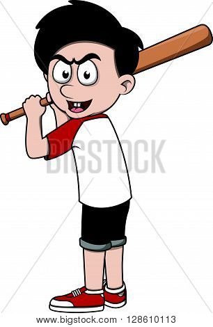 Boy playing Baseball .eps10 editable vector illustration design