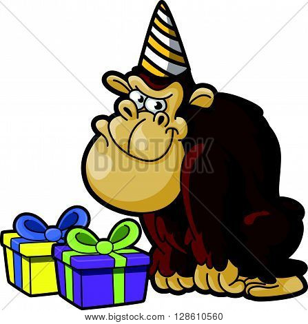 gorilla using birthday party costume  .eps10 editable vector illustration design