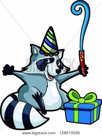racoon using birthday party costume  .eps10 editable vector illustration design